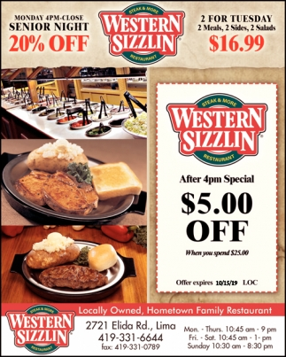 Locally Owned, Hometown Family Restaurant, Western Sizzlin