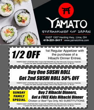 Buy One Sushi Roll, Get 2nd Sushi Roll 50% Off