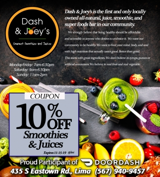 10% Off Smoothies & Juices