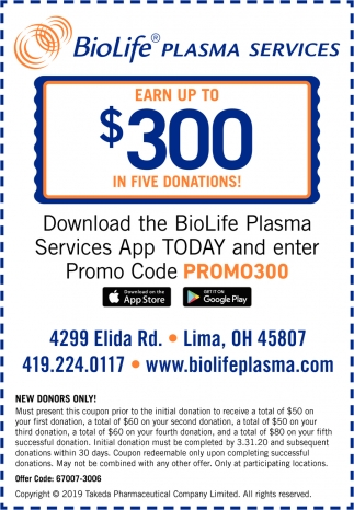 Download The BioLife Plasma Services App Today And Enter Promo Code Promo300