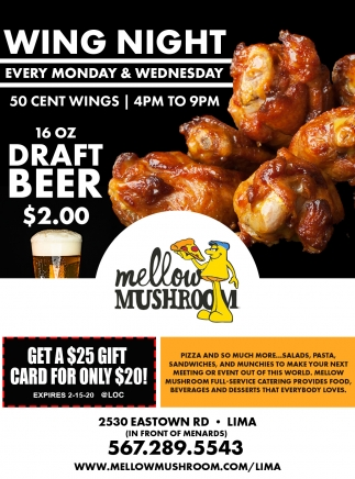 Wing Night Every Monday and Wednesday