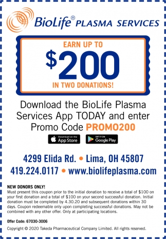 Download The BioLife Plasma Services App Today And Enter Promo Code Promo200